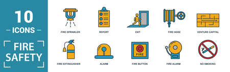 Fire Safety icon set. Include creative elements smoke detector, fire hose, report, no fire, fire sprinkler icons. Can be used for report, presentation, diagram, web design.