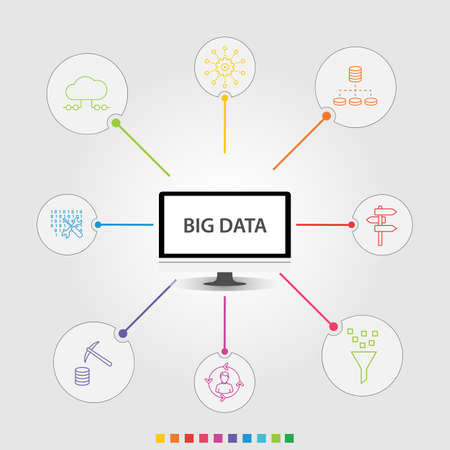Big Data Infographics vector design. Timeline concept include cloud hosting, code engineering, user prediction icons. Can be used for report, presentation, diagram, web design.