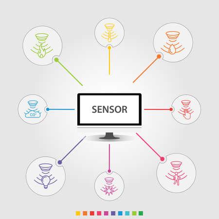 Conception de vecteur d'infographie de capteur. Le concept de chronologie comprend un détecteur de flamme, un capteur de gaz, des icônes de capteur de lumière. Peut être utilisé pour le rapport, la présentation, le diagramme, la conception Web. Vecteurs