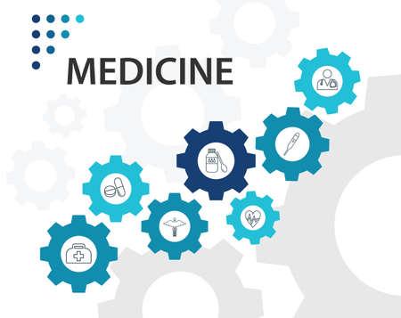 Medicine Infographics vector design. Timeline concept include medical bag, syringe, pills icons. Can be used for report, presentation, diagram, web design.  イラスト・ベクター素材