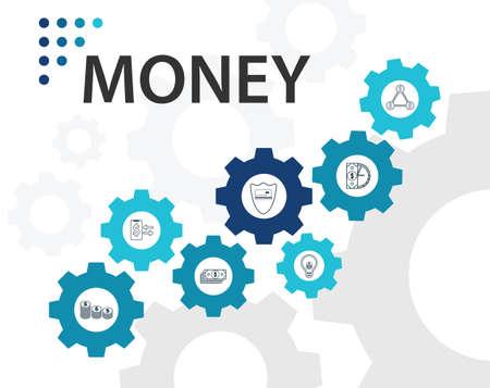 Diseño de vector de infografías de dinero. El concepto de línea de tiempo incluye dinero, monedas, iconos de bolsa de monedas. Se puede utilizar para informes, presentaciones, diagramas, diseño web. Ilustración de vector