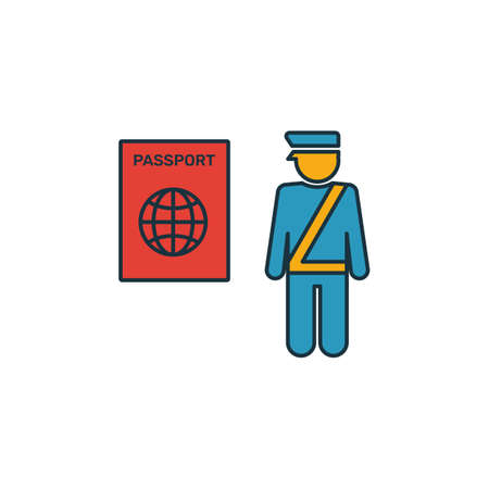 Passport Control icon. Outline filled creative elemet from airport icons collection. Premium passport control icon for ui, ux, apps, software and infographics. 일러스트