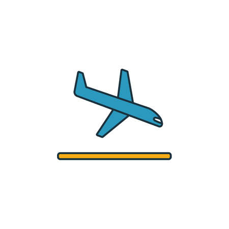 Landing icon. Outline filled creative elemet from airport icons collection. Premium landing icon for ui, ux, apps, software and infographics. Иллюстрация