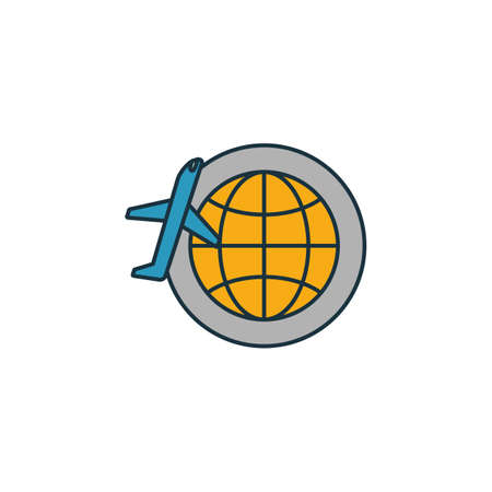 Around The World icon. Outline filled creative elemet from airport icons collection. Premium around the world icon for ui, ux, apps, software and infographics.