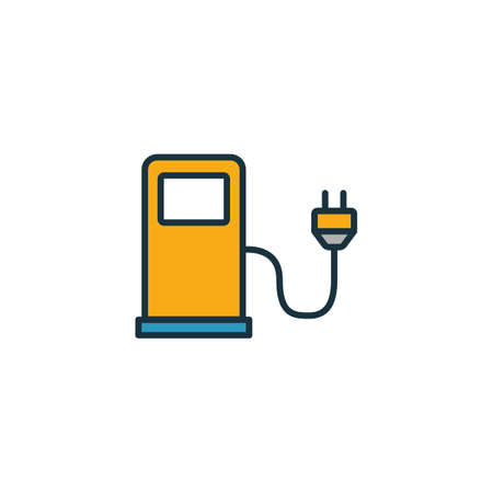 Electric Car Station outline icon. Thin style design from city elements icons collection. Pixel perfect symbol of electric car station icon. Web design, apps, software, print usage. Stok Fotoğraf - 131719517