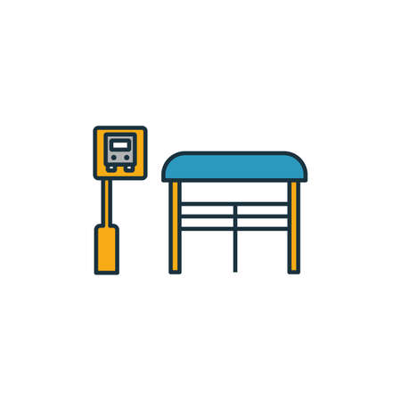 Bus Stop outline icon. Thin style design from city elements icons collection. Pixel perfect symbol of bus stop icon. Web design, apps, software, print usage. Illusztráció