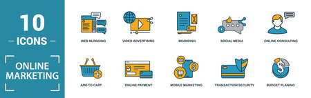 Online Marketing icon set. Include creative elements email marketing, mobile marketing, referral, marketing plan, social icons. Can be used for report, presentation, diagram, web design.