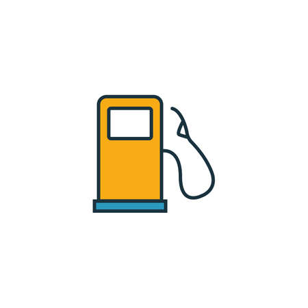 Filling Station outline icon. Thin style design from city elements icons collection. Pixel perfect symbol of filling station icon. Web design, apps, software, print usage. Çizim