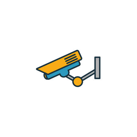 Street Camera outline icon. Thin style design from city elements icons collection. Pixel perfect symbol of street camera icon. Web design, apps, software, print usage. 向量圖像