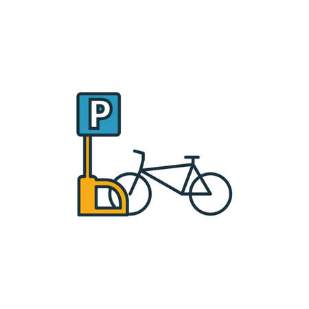Bicycle Parking outline icon. Thin style design from city elements icons collection. Pixel perfect symbol of bicycle parking icon. Web design, apps, software, print usage. Çizim