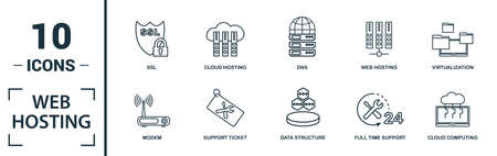 Web Hosting icon set. Include creative elements data structure, cloud technology, ssd, file access, modem icons. Can be used for report, presentation, diagram, web design.