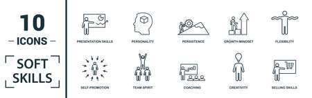 Soft Skills icon set. Include creative elements team spirit, personality, self-promotion, motivating, negotiation icons. Can be used for report, presentation, diagram, web design. Çizim