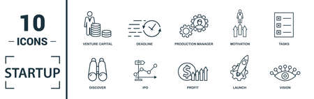 Startup icon set. Include creative elements goal, business plan, prototype, business incubator, vision icons. Can be used for report, presentation, diagram, web design. 向量圖像
