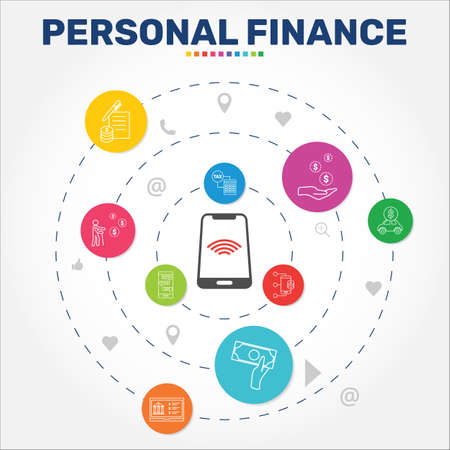 Personal Finance Infographics vector design. Timeline concept include personal income, personal loan, retirement payment icons. Can be used for report, presentation, diagram, web design.