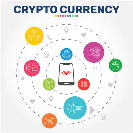 Crypto Currency Infographics vector design. Timeline concept include decentralized, digital key, encrypted icons. Can be used for report, presentation, diagram, web design. Çizim