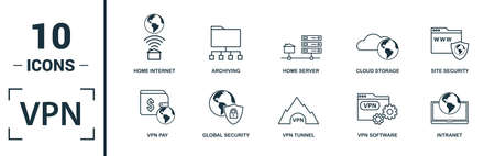 Jeu d'icônes VPN. Incluez des éléments créatifs, l'archivage, la sécurité du site, le serveur domestique, les icônes de piratage du stockage en nuage. Peut être utilisé pour le rapport, la présentation, le diagramme, la conception Web. Vecteurs