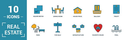 Real Estate icon set. Include creative elements for sale, rent sign, house location, living room, elevator icons. Can be used for report, presentation, diagram, web design.