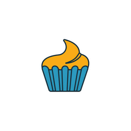 Cupcake icon. Thin line symbol design from coffe shop icon collection. UI and UX. Creative simple cupcake icon for web and mobile.  イラスト・ベクター素材