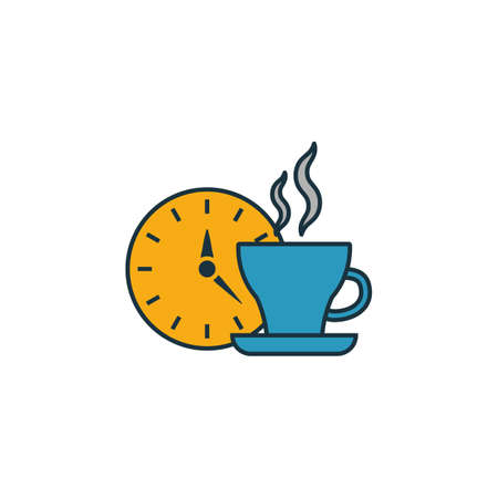 Coffee Time icon. Thin line symbol design from coffe shop icon collection. UI and UX. Creative simple coffee time icon for web and mobile.  イラスト・ベクター素材