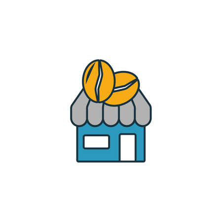 Coffee Shop icon. Thin line symbol design from coffe shop icon collection. UI and UX. Creative simple coffee shop icon for web and mobile.  イラスト・ベクター素材