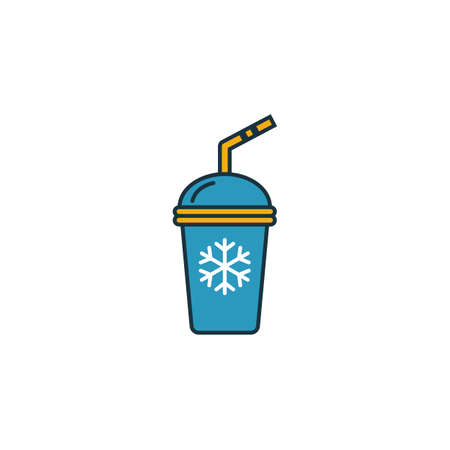 Ice Coffee icon. Thin line symbol design from coffe shop icon collection. UI and UX. Creative simple ice coffee icon for web and mobile.  イラスト・ベクター素材
