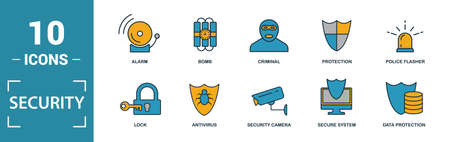 Security icon set. Include creative elements security camera, deffense, lock, protection, data protection icons. Can be used for report, presentation, diagram, web design. Ilustracja