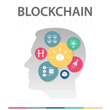 Blockchain Infographics vector design. Timeline concept include block, distribution, proof of stake icons. Can be used for report, presentation, diagram, web design.