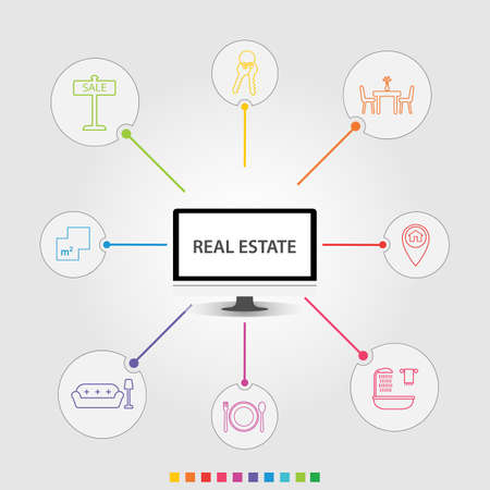 Real Estate Infographics vector design. Timeline concept include for sale, keys, square meter icons. Can be used for report, presentation, diagram, web design.