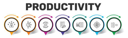 Productivity Infographics vector design. Timeline concept include skill, career choice, time management icons. Can be used for report, presentation, diagram, web design.