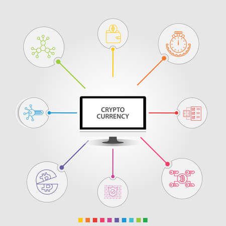 Crypto Currency Infographics vector design. Timeline concept include decentralized, digital key, encrypted icons. Can be used for report, presentation, diagram, web design. Ilustracja