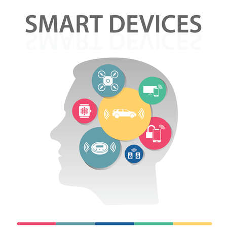 Smart Devices Infographics vector design. Timeline concept include drone, smart car, smart watch icons. Can be used for report, presentation, diagram, web design.