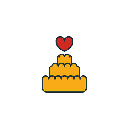 Cake icon set. Four elements in diferent styles from honeymoon icons collection. Creative cake icons filled, outline, colored and flat symbols.