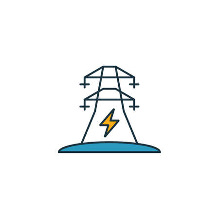 Electric Power icon set. Four elements in diferent styles from power and energy icons collection. Creative electric power icons filled, outline, colored and flat symbols. Ilustracja