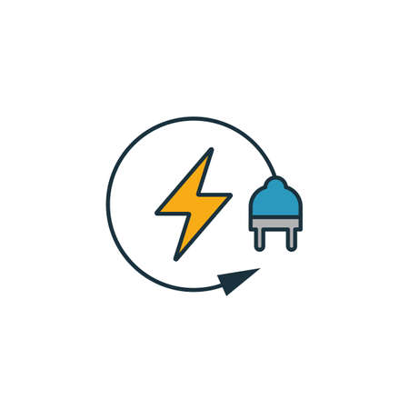 Renewable Energy icon set. Four elements in diferent styles from power and energy icons collection. Creative renewable energy icons filled, outline, colored and flat symbols. Çizim