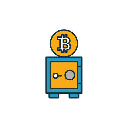 Bitcoin Storage icon set. Four elements in diferent styles from crypto currency icons collection. Creative bitcoin storage icons filled, outline, colored and flat symbols. Ilustracja