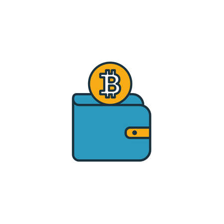 Bitcoin Wallet icon set. Four elements in diferent styles from crypto currency icons collection. Creative bitcoin wallet icons filled, outline, colored and flat symbols. 向量圖像