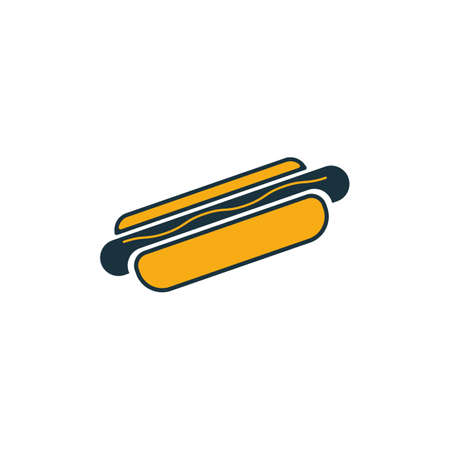 Hot Dog icon set. Four elements in diferent styles from fastfood icons collection. Creative hot dog icons filled, outline, colored and flat symbols.
