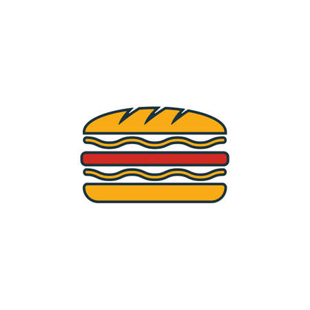 Sandwich icon set. Four elements in diferent styles from fastfood icons collection. Creative sandwich icons filled, outline, colored and flat symbols.