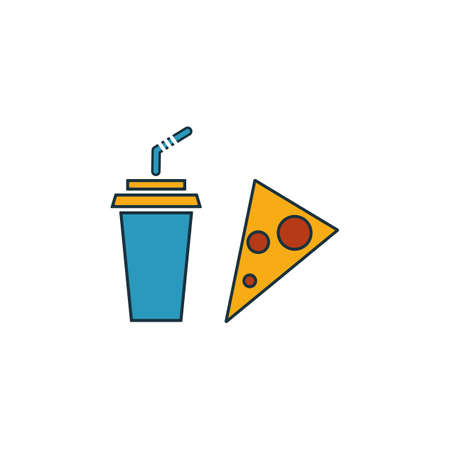 Drink With Pizza icon set. Four elements in diferent styles from fastfood icons collection. Creative drink with pizza icons filled, outline, colored and flat symbols. Illustration