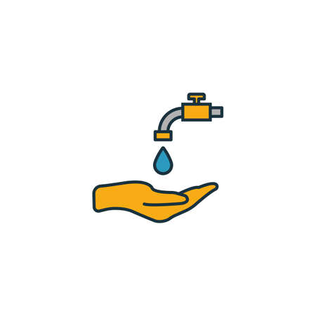 Water Saving icon set. Four elements in diferent styles from power and energy icons collection. Creative water saving icons filled, outline, colored and flat symbols.