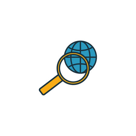 Global Search icon set. Four elements in diferent styles from human resources icons collection. Creative global search icons filled, outline, colored and flat symbols.