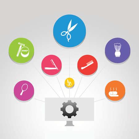 Barber Shop Infographics vector design. Timeline concept include scissors, straight razor, foam brush icons. Can be used for report, presentation, diagram, web design.