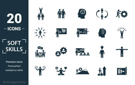 Soft Skills icon set. Include creative elements team spirit, personality, self-promotion, motivating, negotiation icons. Can be used for report, presentation, diagram, web design. Vectores