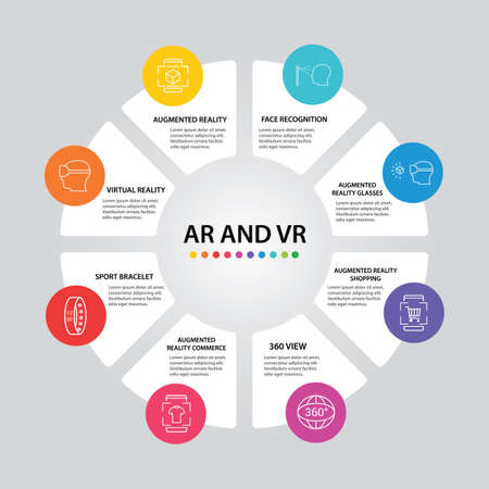 Ar And Vr Infographics vector design. Timeline concept include augmented reality, 360 view, virtual reality icons. Can be used for report, presentation, diagram, web design. Ilustracja