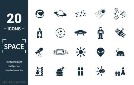 Space icon set. Include creative elements earth planet, stars, spaceship, spacemen, telescope icons. Can be used for report, presentation, diagram, web design. Vettoriali