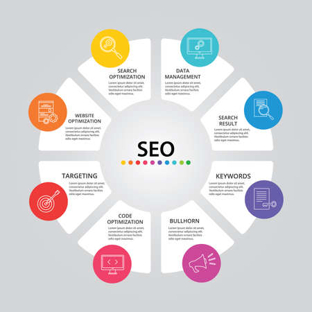 Seo Infographics vector design. Timeline concept include search optimization, data management, search result icons. Can be used for report, presentation, diagram, web design.