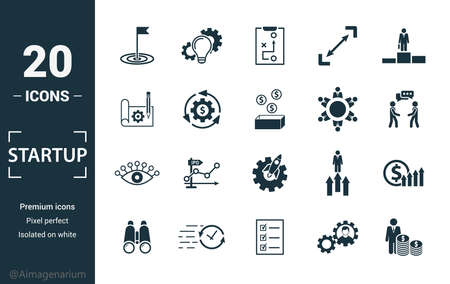 Startup icon set. Include creative elements goal, business plan, prototype, business incubator, vision icons. Can be used for report, presentation, diagram, web design. Ilustracja
