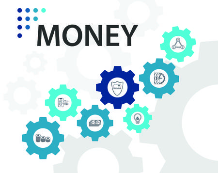 Money Infographics vector design. Timeline concept include money, coins, coins bag icons. Can be used for report, presentation, diagram, web design. Ilustracja