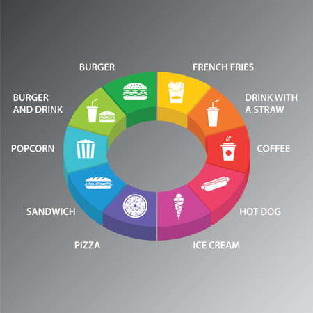 Fastfood Infographics vector design. Timeline concept include burger, french fries, drink with a straw icons. Can be used for report, presentation, diagram, web design.