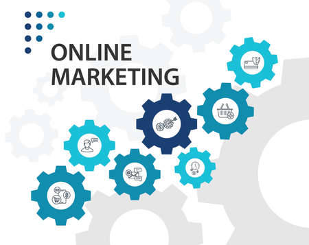 Online Marketing Infographics vector design. Timeline concept include email marketing, video advertising, mobile marketing icons. Can be used for report, presentation, diagram, web design.